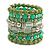 Wide Coiled Ceramic, Acrylic, Glass Bead Bracelet (Green, Lime, Transparent) - Adjustable