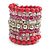 Wide Coiled Ceramic, Acrylic, Glass Bead Bracelet (Pink, Fuchsia, Transparent) - Adjustable - view 7