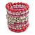 Wide Coiled Ceramic, Acrylic, Glass Bead Bracelet (Pink, Fuchsia, Transparent) - Adjustable