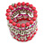 Wide Coiled Ceramic, Acrylic, Glass Bead Bracelet (Pink, Fuchsia, Transparent) - Adjustable - view 5