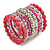 Wide Coiled Ceramic, Acrylic, Glass Bead Bracelet (Pink, Fuchsia, Transparent) - Adjustable - view 3