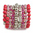 Wide Coiled Ceramic, Acrylic, Glass Bead Bracelet (Pink, Fuchsia, Transparent) - Adjustable - view 6