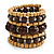 Wide Coiled Ceramic, Acrylic, Wood Bead Bracelet (Brown, Natural) - Adjustable