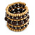 Wide Coiled Ceramic, Acrylic, Wood Bead Bracelet (Brown, Natural) - Adjustable - view 4