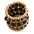 Wide Coiled Ceramic, Acrylic, Wood Bead Bracelet (Brown, Natural) - Adjustable - view 5