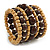 Wide Coiled Ceramic, Acrylic, Wood Bead Bracelet (Brown, Natural) - Adjustable - view 6
