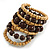 Wide Coiled Ceramic, Acrylic, Wood Bead Bracelet (Brown, Natural) - Adjustable - view 3