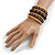 Wide Coiled Ceramic, Acrylic, Wood Bead Bracelet (Brown, Natural) - Adjustable - view 2