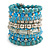 Wide Coiled Ceramic, Acrylic, Glass Bead Bracelet (Light Blue, Turquoise, Silver, Transparent) - Adjustable