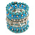 Wide Coiled Ceramic, Acrylic, Glass Bead Bracelet (Light Blue, Turquoise, Silver, Transparent) - Adjustable - view 4