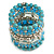 Wide Coiled Ceramic, Acrylic, Glass Bead Bracelet (Light Blue, Turquoise, Silver, Transparent) - Adjustable - view 5