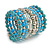 Wide Coiled Ceramic, Acrylic, Glass Bead Bracelet (Light Blue, Turquoise, Silver, Transparent) - Adjustable - view 3