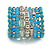 Wide Coiled Ceramic, Acrylic, Glass Bead Bracelet (Light Blue, Turquoise, Silver, Transparent) - Adjustable - view 6