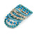 Wide Coiled Ceramic, Acrylic, Glass Bead Bracelet (Light Blue, Turquoise, Silver, Transparent) - Adjustable - view 7