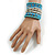 Wide Coiled Ceramic, Acrylic, Glass Bead Bracelet (Light Blue, Turquoise, Silver, Transparent) - Adjustable - view 2