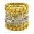 Wide Coiled Ceramic, Acrylic, Glass Bead Bracelet (Lemon Yellow, Silver, Transparent) - Adjustable