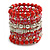 Wide Coiled Ceramic, Acrylic, Glass Bead Bracelet (Red, Silver, Transparent) - Adjustable