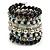 Wide Coiled Ceramic, Acrylic, Glass Bead Bracelet (Black, White, Silver, Transparent) - Adjustable