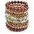 Wide Coiled Ceramic, Acrylic, Glass Bead Bracelet (Coffee, Light Topaz, Silver, Transparent) - Adjustable