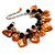 Orange/ Black Simulated Pearl Bead & Shell Component Charm Bracelet (Silver Tone) - 15cm Long/ 7cm Ext