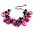 Fuchsia/ Black Simulated Pearl Bead & Shell Component Charm Bracelet (Silver Tone) - 15cm Long/ 7cm Ext