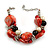 Faux Pearl & Shell - Composite Silver Tone Link Bracelet ( Red, Black, Cream) - 16cm L/ 3cm Ext - For Small Wrist Only