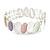 Pastel Multi Enamel Oval Cluster Textured Flex Bracelet In Silver Tone - 18cm Long - view 3