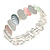 Pastel Multi Enamel Oval Cluster Textured Flex Bracelet In Silver Tone - 18cm Long