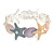 Pastel Multi Enamel Textured Starfish and Shell Flex Bracelet In Silver Tone - 20cm Long - view 4