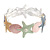 Pastel Multi Enamel Textured Starfish and Shell Flex Bracelet In Silver Tone - 20cm Long - view 3