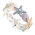 Pastel Multi Enamel Textured Starfish and Shell Flex Bracelet In Silver Tone - 20cm Long - view 6