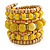 Wide Coiled Ceramic, Acrylic, Wood Bead Bracelet (Yellow/ Natural) - Adjustable