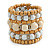 Wide Coiled Ceramic, Acrylic, Wood Bead Bracelet (Snow White/ Cream/ Natural) - Adjustable