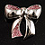 Silver Tone Pink Crystal Bow Brooch - view 2