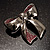 Silver Tone Pink Crystal Bow Brooch - view 3