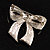 Silver Tone Pink Crystal Bow Brooch - view 6