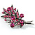 Antique Silver Fuchsia Crystal Flower Bouquet Brooch - 54mm L