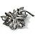 Jet-Black Diamante Oversized Vintage Flower Brooch - view 4