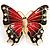 Oversized Gold Red Enamel Butterfly Brooch