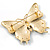Oversized Gold Red Enamel Butterfly Brooch - view 3