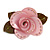 Contemporary Pink Plastic Rose Brooch