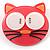 Funky Pink Plastic Cat Brooch