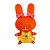 Pretty Orange Bunny Girl Plastic Brooch
