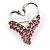 Swan Heart Crystal Brooch (Fuchsia)