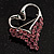 Swan Heart Crystal Brooch (Fuchsia) - view 5