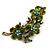 Vintage Olive Green Floral Brooch (Antique Gold) - view 11