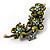 Vintage Olive Green Floral Brooch (Antique Gold) - view 6