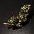 Vintage Olive Green Floral Brooch (Antique Gold) - view 5