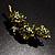 Vintage Olive Green Floral Brooch (Antique Gold) - view 8