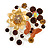 Fancy Butterfly And Flower Brooch (Gold & Light Citrine)